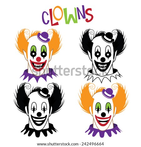 Happy and creepy clown icon collection EPS 10 vector stock illustration - stock vector