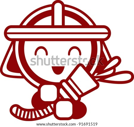 Happy and Cute Fireman with a smile - stock vector