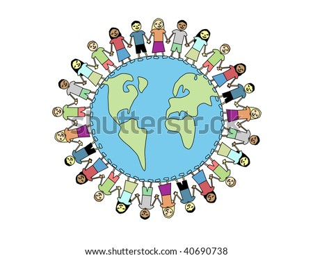 Happy and diverse kids holding hands around the world - stock vector