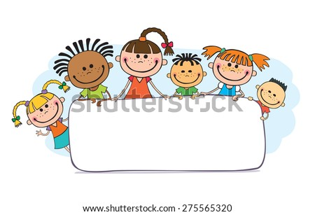 Happy and funny children large banner, child, kindergarten, poster, international, vector, stick, preschooler, flowers, tablet, letter, boards, people, kids, isolated
