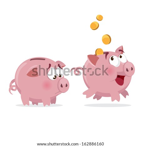 happy and sad Piggy bank with money and empty - stock vector