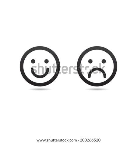 Happy and Sad Smiley Icon - stock vector