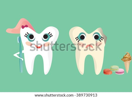 Happy and sad tooth illustration, caries and healthy tooth set.
