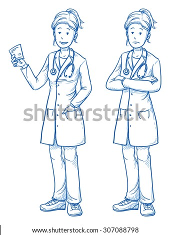 Happy and sad young female doctor in two emotions. Hand drawn cartoon doodle vector illustration. - stock vector