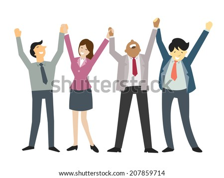Happy and successful businesspeople,  holding hand and raising hands, business concept in teamwork and corporation. - stock vector