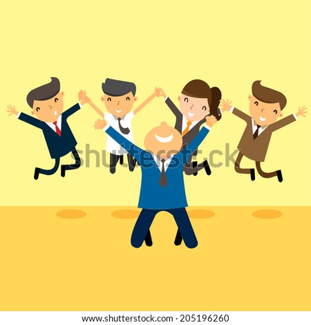 Happy and successful businesspeople, jumping in the air, business concept in teamwork and corporation.  - stock vector