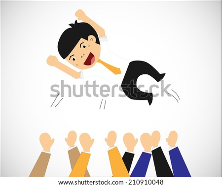 Happy and successful businesspeople, jumping in the air, business concept in teamwork and corporation - stock vector
