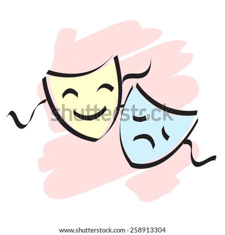 Stock Vector Happy And Theater Mask Faces Isolated On White Background Theatermasken Sad Photo