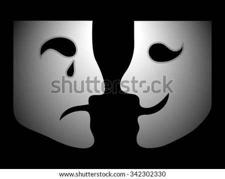 Happy and unhappy face - stock vector