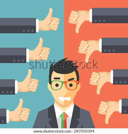 Happy angry businessman. Man in suit with different face expressions - happiness and anger. Likes, dislikes, public opinion, vox populi concept. Creative vector illustration - stock vector