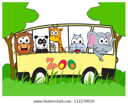 happy animals in a zoo excursion together using four wheel drive vehicles - stock vector