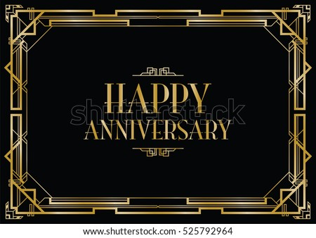 happy anniversary art deco invitation