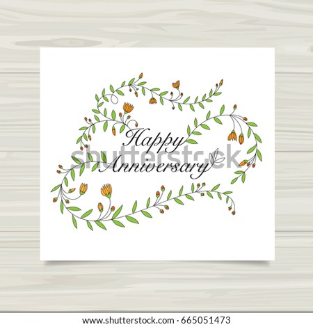 Happy Anniversary Card Template Stock Vector   Shutterstock