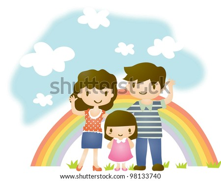 Happy Anniversary Day - taking a picture with lovely smiling family on travel background with beautiful landscape - stock vector