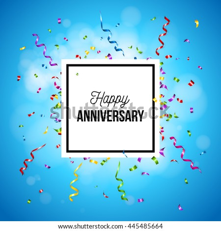 Happy Anniversary square greeting card design or promotional poster with centered text in a frame over a graduated blue background with party streamers and confetti - stock vector