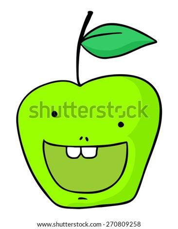 happy apple draw - stock vector