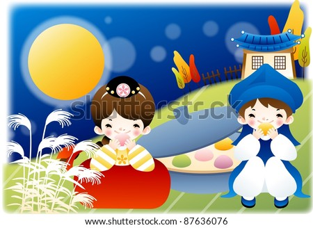 Happy Autumn Festivals - lovely smiling young girl and boy with tasty korean traditional rice cakes in country garden on a background of beautiful blue sky, full moon and blur pattern - stock vector