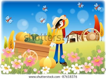 Happy Autumn Story - smiling lovely young woman with rich crops in beautiful flower garden on a background of blue sky and blur pattern - stock vector