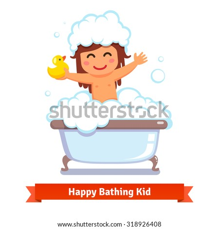 Happy baby girl taking bath with yellow duck toy and lots of foam bubbles. Flat style vector cartoon illustration isolated on white background. - stock vector