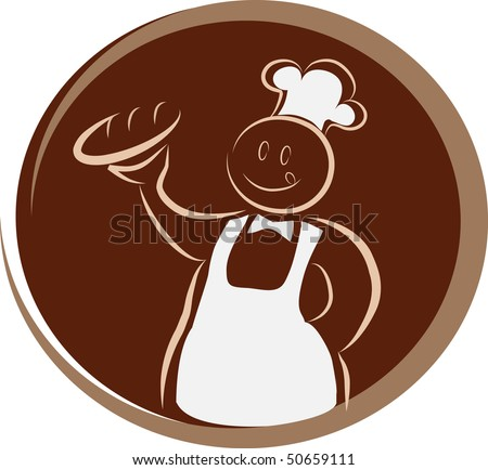 happy baker with fork and knife - stock vector