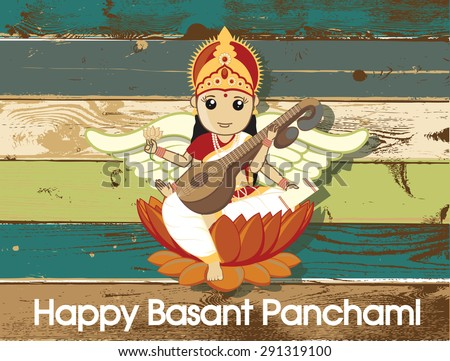 Happy Basant Panchami - Hindu God Saraswati Festival - stock vector