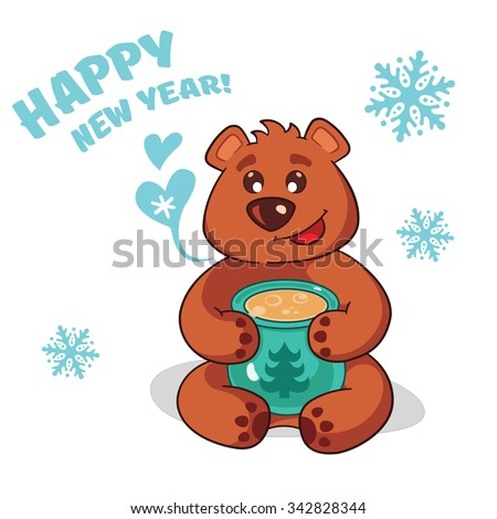 Happy Bear who congratulates his friends