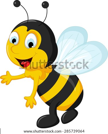 happy Bee cartoon flying
