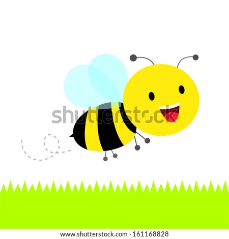 Happy bee. Cute busy bumble bee flying. - stock vector