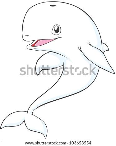 happy beluga whale cartoon