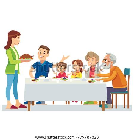 Happy Big Family Eating Dinner Together Vector Illustration