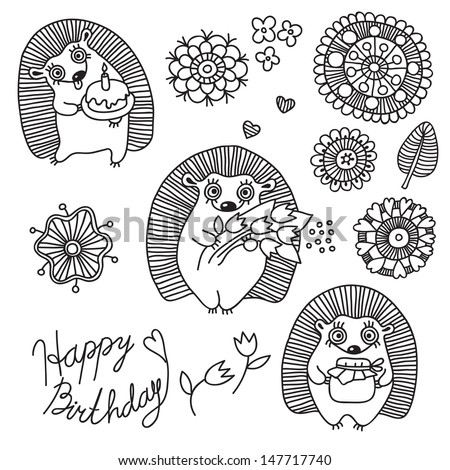Happy Birthday. A set of design elements for baby: cute hedgehogs and flowers. Vector illustration. - stock vector