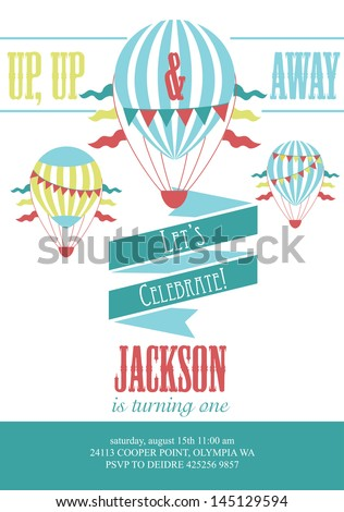 happy birthday air balloon card design. vector illustration - stock vector