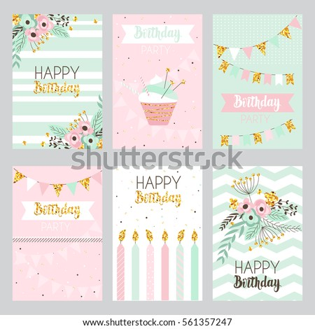 Happy birthday and invitation card with golden sparkle dots, flowers,  cake, candle . Illustration in vintage style, pastel colors, vector.
