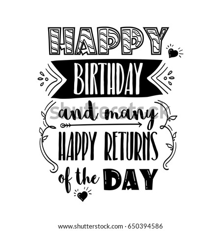 Happy Birthday Many Happy Returns Day Stock Vector