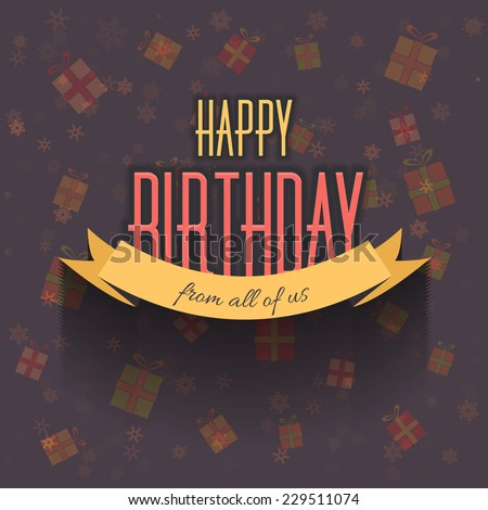 Happy Birthday Announcement and Celebration Message Poster, Flyer Design - stock vector