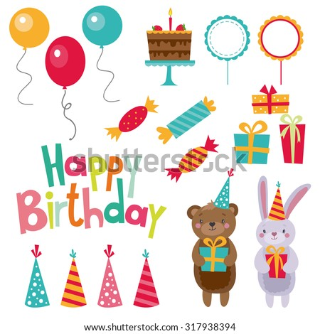 Happy birthday attribute set. Cute bear, Bunny, candy, gifts,cake, balloons, firecrackers. - stock vector