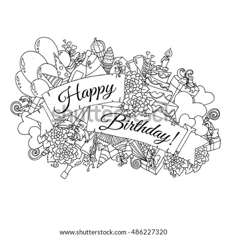 "Happy Birthday background for card. Hand drawn doodles gift boxes, garlands and balloons, party blowouts, cakes and candies, birthday pie, party hats and ribbon with congratulation ""Happy Birthday"""