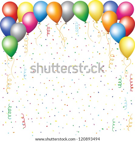 happy birthday background with balloons, confetti and serpentine - stock vector