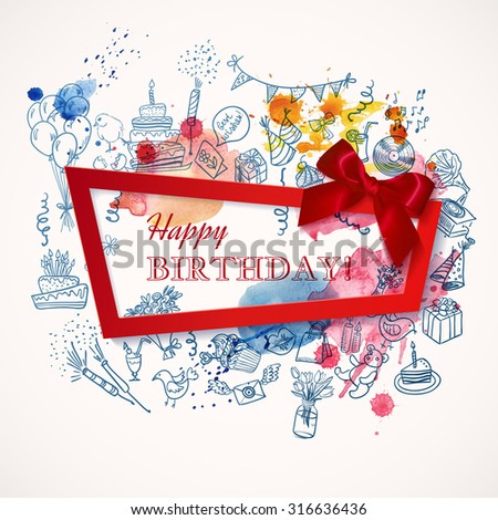 Happy Birthday Background Doodle Hand Drawn Stock Vector 316636436
