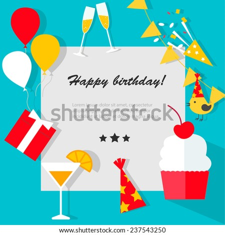 Happy Birthday background with flat icons set, vector illustration - stock vector