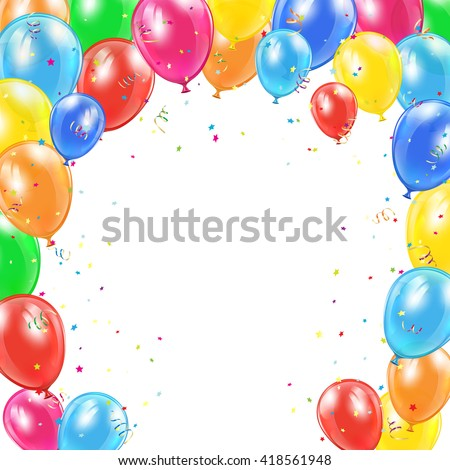 Happy Birthday background with frame from flying colorful balloons, tinsel and confetti, illustration. - stock vector