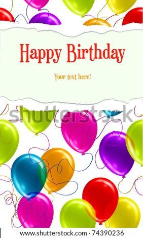 Happy Birthday Background with Ripped Gift Paper - stock vector