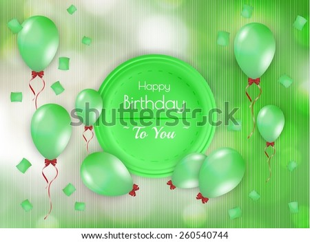 happy birthday badge with balloons and falling confetti - stock vector