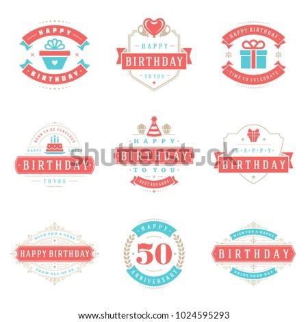 Happy Birthday Badges Labels Vector Design Stock Vector 1024595293