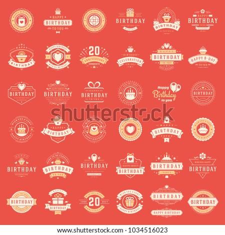 Happy Birthday Badges Labels Vector Design Stock Vector 1034516023