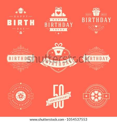 Happy Birthday Badges Labels Vector Design Stock Vector 1054537553