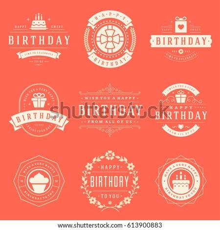 Happy Birthday Badges Labels Vector Design Stock Vector 613900883