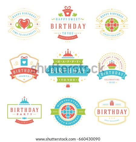 Happy Birthday Badges Labels Vector Design Stock Vector Royalty
