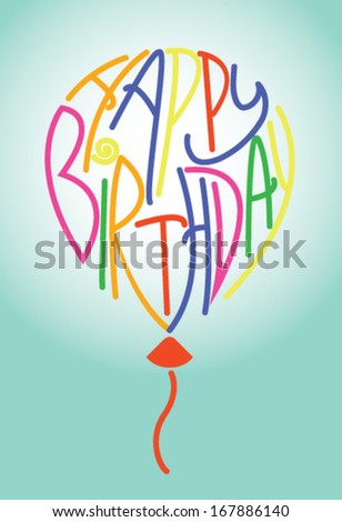 Happy birthday balloon with unusual letters - stock vector