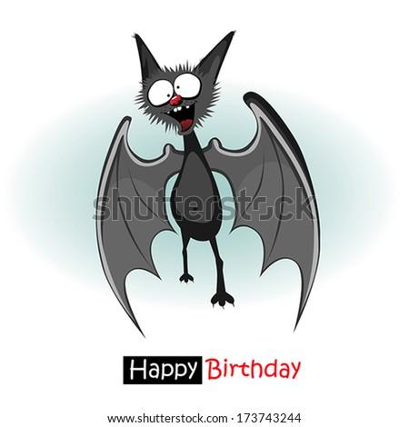 Happy Birthday bat smile - stock vector